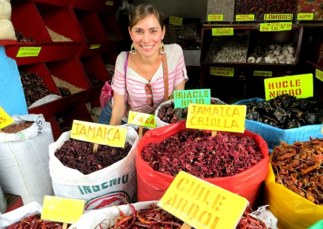 That's me in all of my glory on a self-guided market tour in Oaxaca, Photo credit: Lola's Cocina