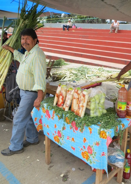 Freshly cut sugar cane and tunas (prickly pears) with lime and chile make a great snack in Zaachila, Photo credit: Lola's Cocina