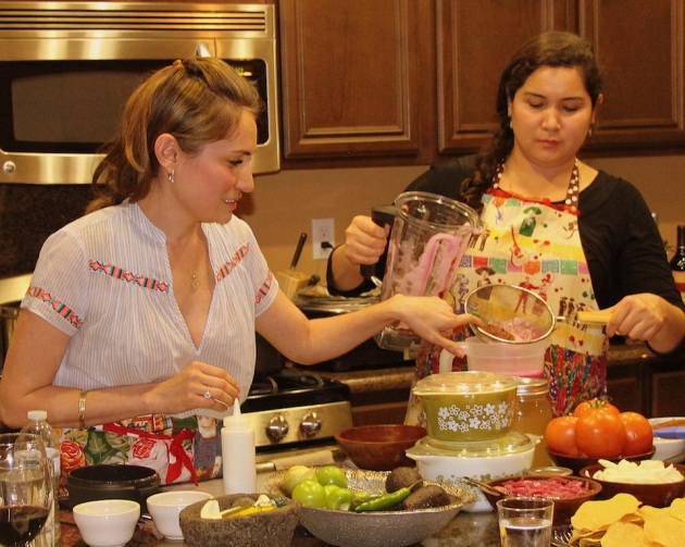 My sister and sous chef, Elise, helps prepare the agua fresca.