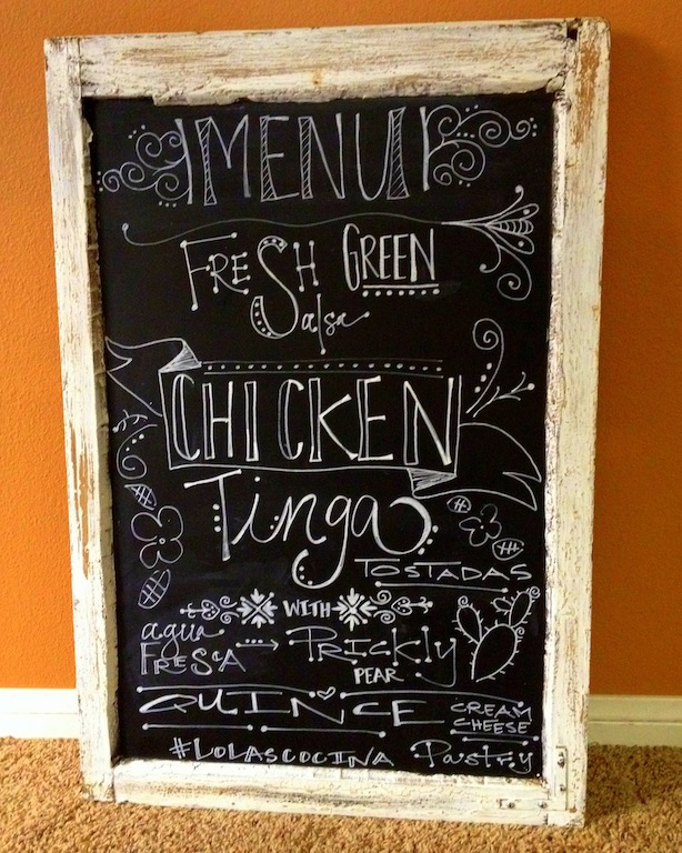 Menu chalk art by my dear friend, Ana Zambrano!