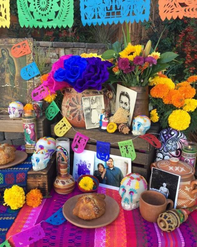 Colorful Day of the Dead altar by Casa Artelexia