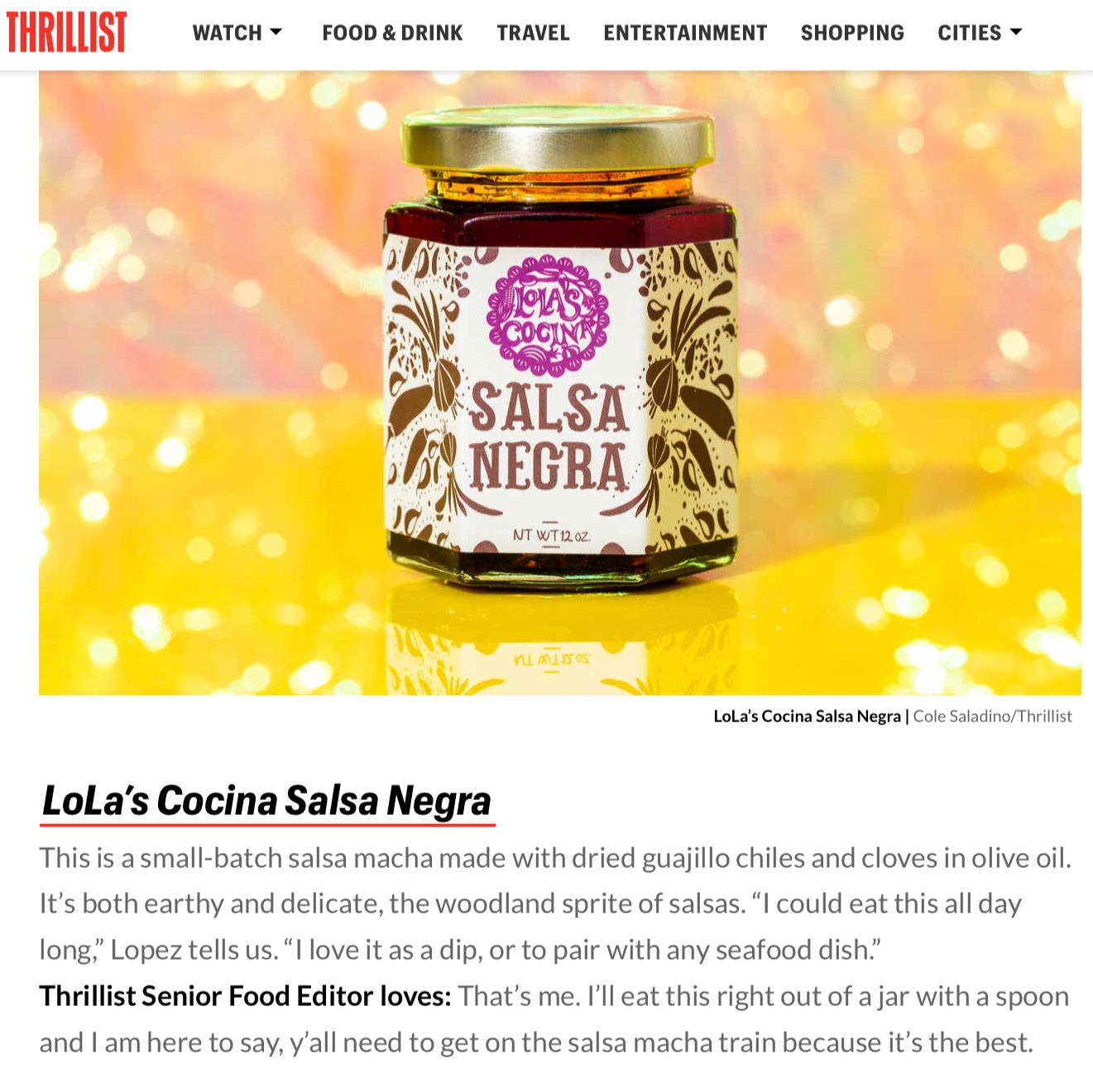 Lola's Salsa Macha Article in Thrillist