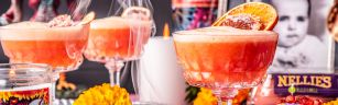 mezcal sour, day of the dead cocktail, drink food photography